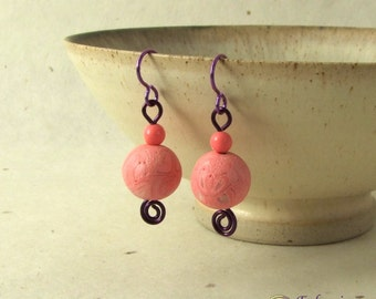 Pink and purple earrings with handmade polymer clay beads on hypo-allergenic niobium ear wires