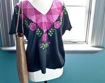 Vintage FRIDA KAHLO floral embroidery Mexican Tehuana TOP blouse