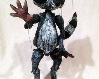 Made-to-order.   Raccoon marionette, hand-made, OOAK