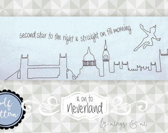 Instant Download- Embroidery Pattern. Peter Pan. Neverland Stitchery. Second Star to the Right. Peter Pan theme project. DIY. Pattern