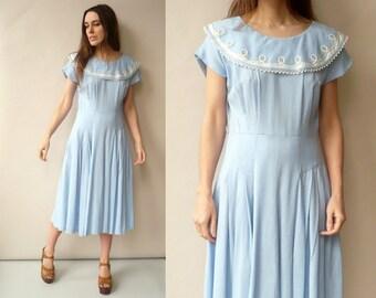 1950's Vintage Blue & White Polka Dot Prom Dress With Sailor Collar Size Medium