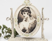 Tilt Picture Frame on Stand Aged White / Victorian Style Cottage Chic