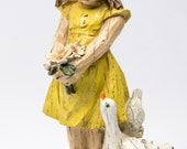 Little Girl and her Duck Figurine / Faux Carved Wood / Little Girls Room / Vintage Seymour Mann Figurine