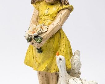 50% Off Girl and her Duck Figurine / Faux Carved Wood / Little Girls Room / Vintage Seymour Mann Figurine
