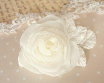 Ivory bridal rose, bridal flower clip, bridal hair piece, organza wedding hair accessories