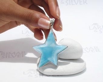 Larimar star by Larimarandsilver, Mermaid Star - sky blue Larimar crescent, topaz blue star, soft blue, Swiss blue, handmade Larimar pendant