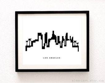 Los Angeles Skyline Print - Los Angeles Cityscape Print - Los Angeles Wall Art -  Modern Black and White Decor - Aldari Art