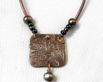 Antiqued Brass Glass Leaf Necklace
