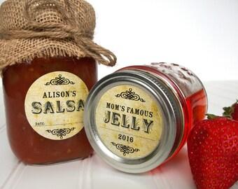 CUSTOM Vintage canning jar labels, fully personalized round mason jar labels for fruit & vegetable preservation, jam jelly jar label