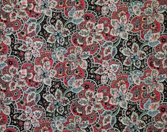 Fat Quarter, Pink Black Paisley, Quilting Cotton Print Fabric, Intricate Floral, 22 x 18, B44