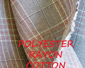 Gray Peach Plaid Suiting, Wide Fashion Fabric, Medium Weight, Polyester Rayon Cotton, half yard, B1