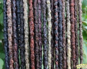 Dark Autumn DE x20 Crochet Synthetic Dreads - black brown red grey - Half Set