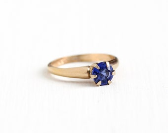 Sale - Vintage 10k Yellow Gold Filled Created Sapphire Ring - 1940s Size 5 1/2 Round Lab Created Blue Solitaire September Birthstone Jewelry