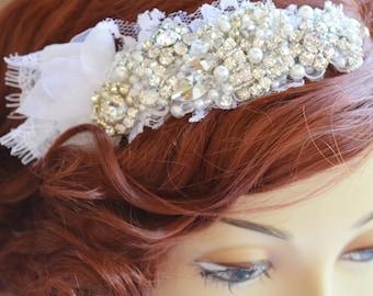 Bridal White Lace with Flower Petal Rhinestone headpiece, Rhinestone and Pearl lace headband,Vintage headpiece,Heirloom Lace headband