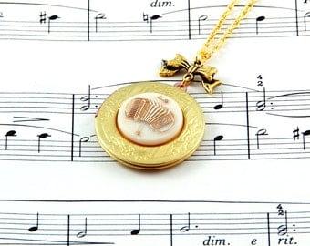 Accordion Necklace - Music Locket - Vintage Locket Necklace - Music Gift