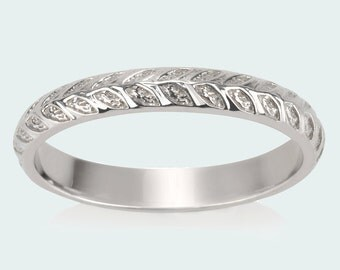 Vine Wedding Band, Leaves Ring, Nature Textured Domed Ring | Nature Inspired Rings Modern flower child