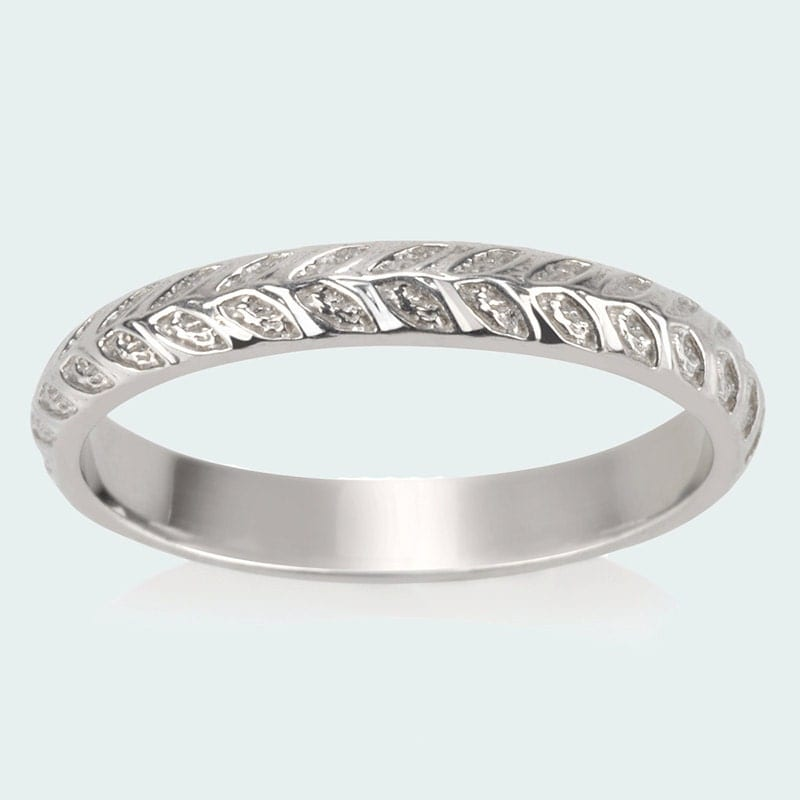 vine wedding band leaves ring nature textured domed ring