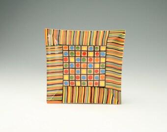 """7"""" Abstract Redware Plate/Platter Hand Painted Modern Art Dinnerware"""