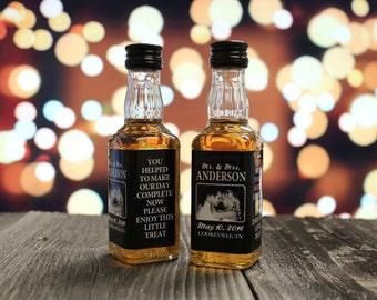 Custom Jack Daniels Mini Bottle Labels Liquor Wedding Favors Engagement Party Rehearsal Dinner Reception Couple Photo Whiskey Gift EB-1015