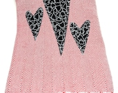 Red white herringbone dish towel  three black white appliqué hearts