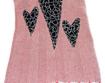 Red white herringbone dish towel  three black white appliqué hearts