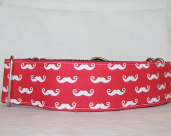 Mini Mustache Martingale Dog Collar - 1.5 or 2 Inch - handsome red white facial hair dog
