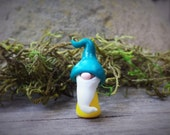 "Gnome Miniature Fairy Garden Terrarium Figurine Polymer Clay Tiny 1 1/4"" Tall Teal Yellow"