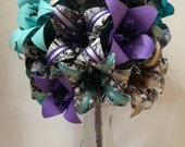 Bridal Bouquet of Lilies- extra large bouquet, paper flowers, origami, brides bouquet, one of a kind, comic book, alternative, anniversary