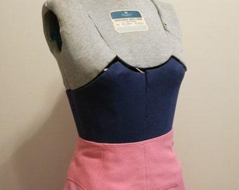 Skirt PINK pencil WESTERN wool curvy seams rockabilly pinup S