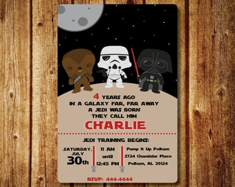 Star Wars Birthday Invitation; Star Wars Digital Invitation with Chewy, Storm Trooper and Darth Vader