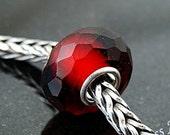 Blood Red Prism fits Trollbeads European Charm Bead  Slider BHB