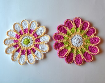 Crochet Chrysanthemum Dishcloths,  Customizable Colorful Wash Rags, Trivets, Table Decoration, Perfect for Spring & Summer, Mother's Day