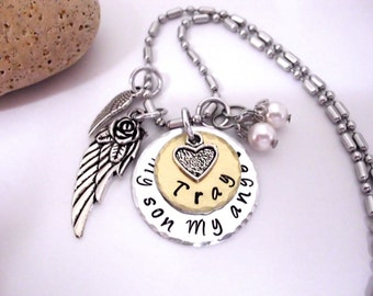 Son Memorial Jewelry, Son Memorial Necklace, Sympathy Gift, My Son My Angel, Son Bereavement, Loss of Son, Son Loss