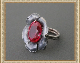 Sterling Silver Ring Red Topaz Oxidized Silver Ring