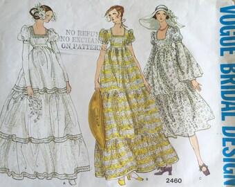Vogue 2460 Vintage 1970\'s Empire Waist Wedding Gown Pattern ...