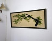 Mid Century Modern Large Framed Textile Art The Ming Tree