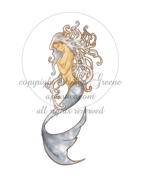 art nouveau mermaid original art print 8.5x11