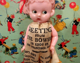 Vintage Souvenir Hard Plastic Doll, The Bowery Club, San Francisco, CA, Advertising Collectible, Barbary Coast, Jointed Arms, HARD to FIND