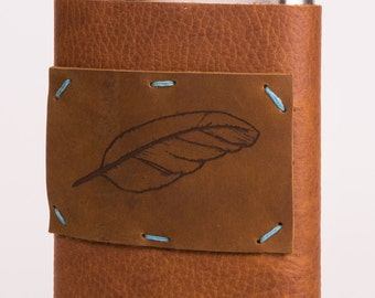 Leather + Stainless Steel 8 oz Flask with Feather Design (F8-57)