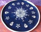 Skulls and Mandala - small plate dish decorative kitchen decor functional art