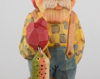 Wood, carving, Nordic, Gnome, Elf, Fisherman, caricature