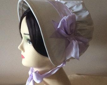 Regency Bonnet. Jane Austen. Ivory SILK. Lilac Ribbons