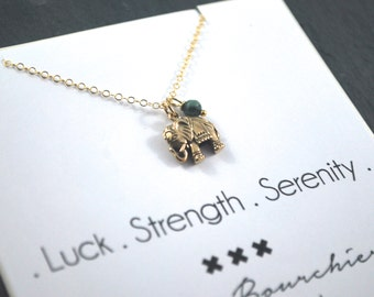 Gold Elephant necklace.Turquoise and Gold Filled quality layering necklace elephant necklace gold Luck, strength serenity necklace