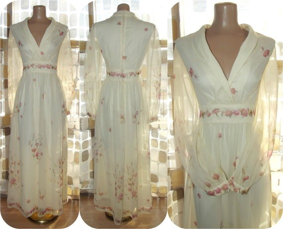 Vintage 70s Hippie Prairie Girl Wedding Dress Gown S M: Vintage 70s Floral Ivory Sheer Chiffon Prairie Maxi Dress BOHO