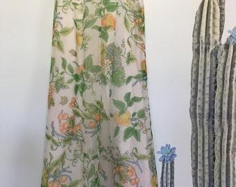 Vintage 70s Fruit Print High Waist Chiffon Maxi Skirt
