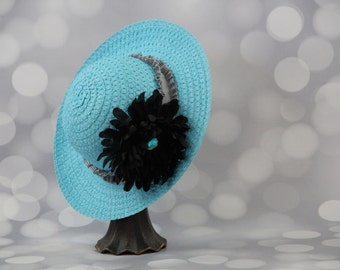 Tea Party Hat; Turquoise Easter Bonnet with Satin Ribbon; Girls Sun Hat; Blue Easter Hat; Sunday Dress Hat; Derby Hat; 16210