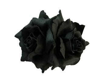 Double Black Rose Flower Hair Clip