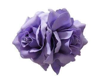 Double Purple Lavender Rose Flower Hair Clip