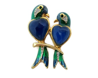 love bird brooch, parrots, tropical birds, blue hearts, vintage, beach wedding