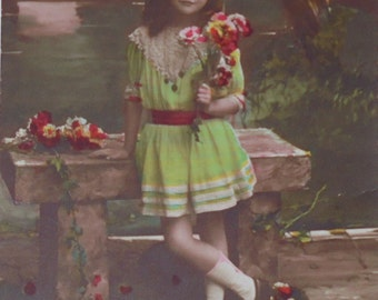 Vintage French Postcard - Little Girl with Flowers